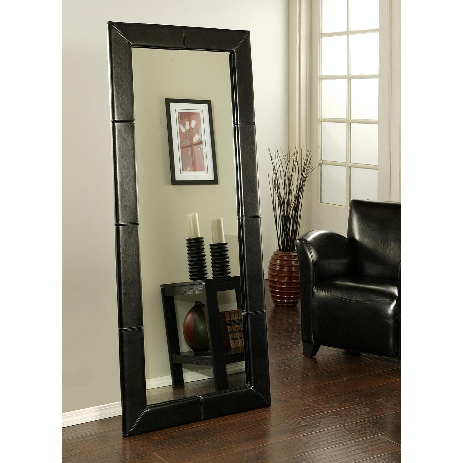 Abbyson Living Leather Large Floor Mirror By Oj Commerce Abbl126 633 04