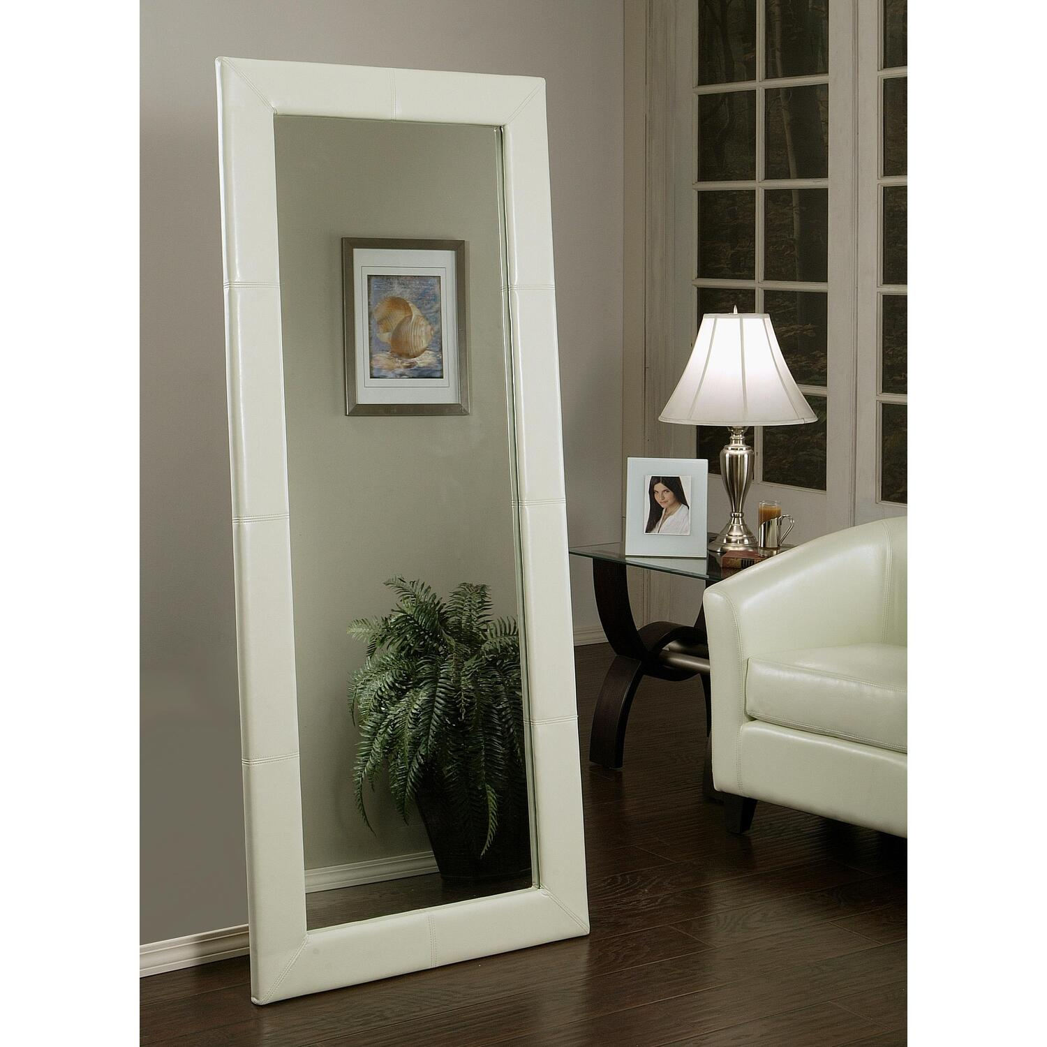 Abbyson living leather large floor mirror by oj commerce for Large floor mirror