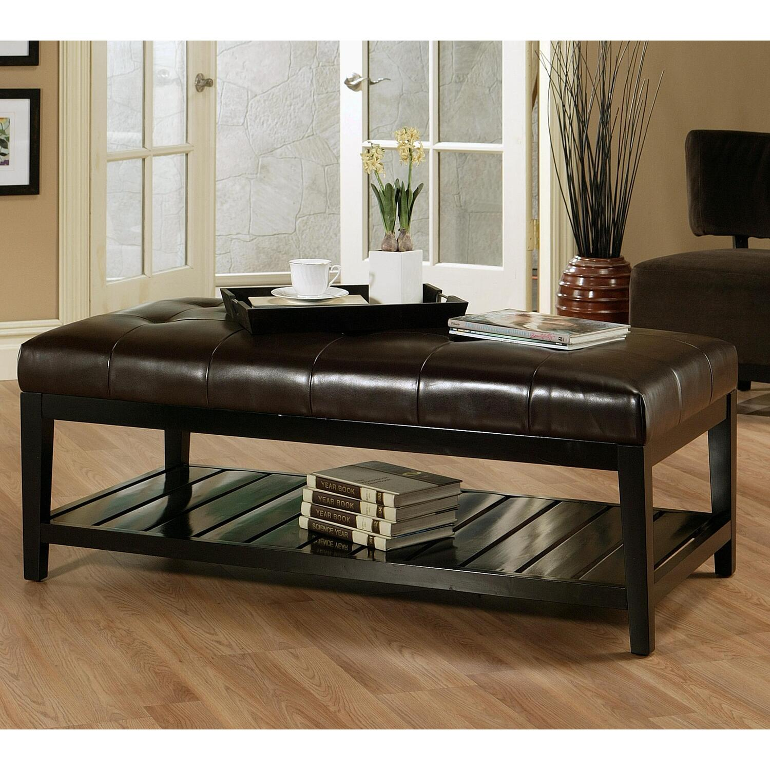 Abbyson living bicast tufted leather coffee table ottoman by oj commerce abbl156 Dark brown leather ottoman coffee table