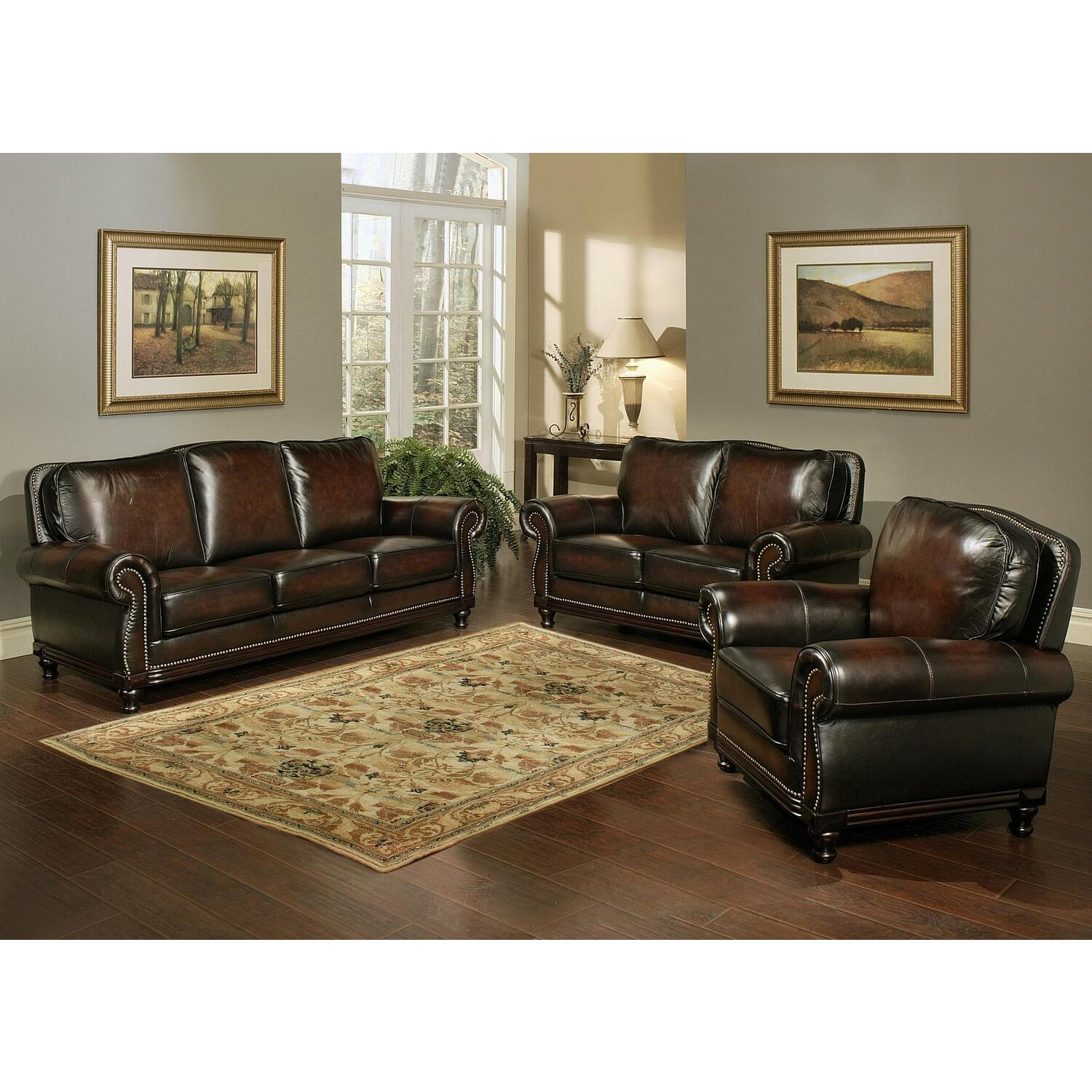 Abbyson Living Woodtrim Hand Rubbed Leather Sofa Loveseat