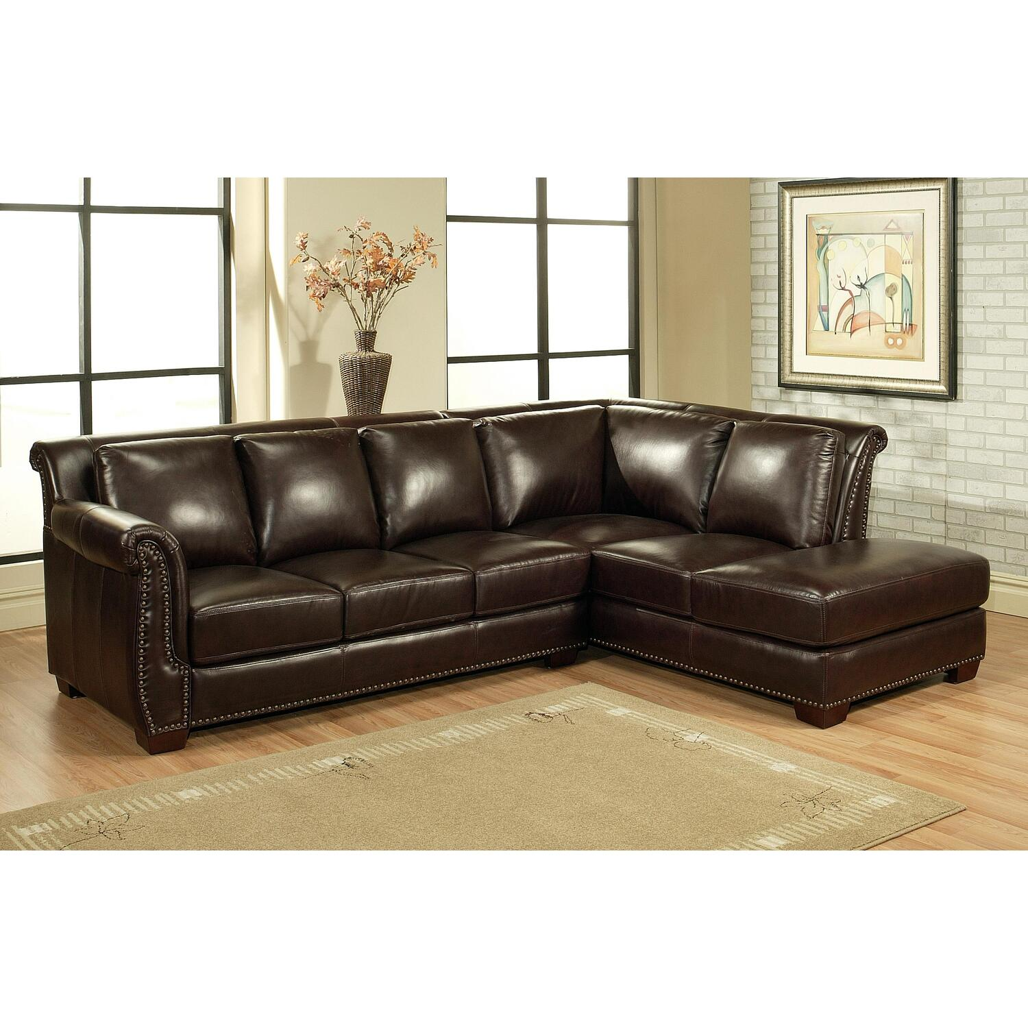 Abbyson Living Italian Leather Sectional Sofa By Oj