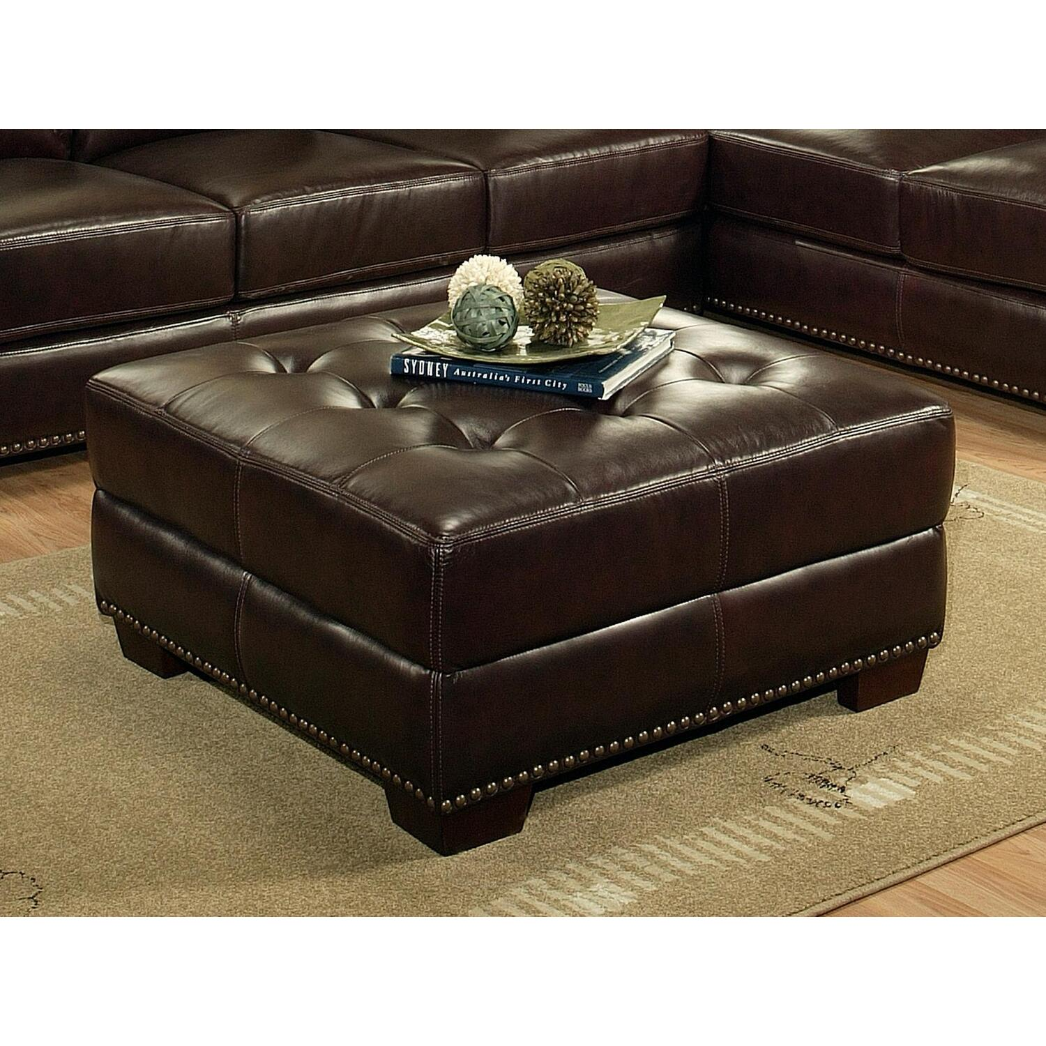 Abbyson Living Italian Leather Ottoman By Oj Commerce