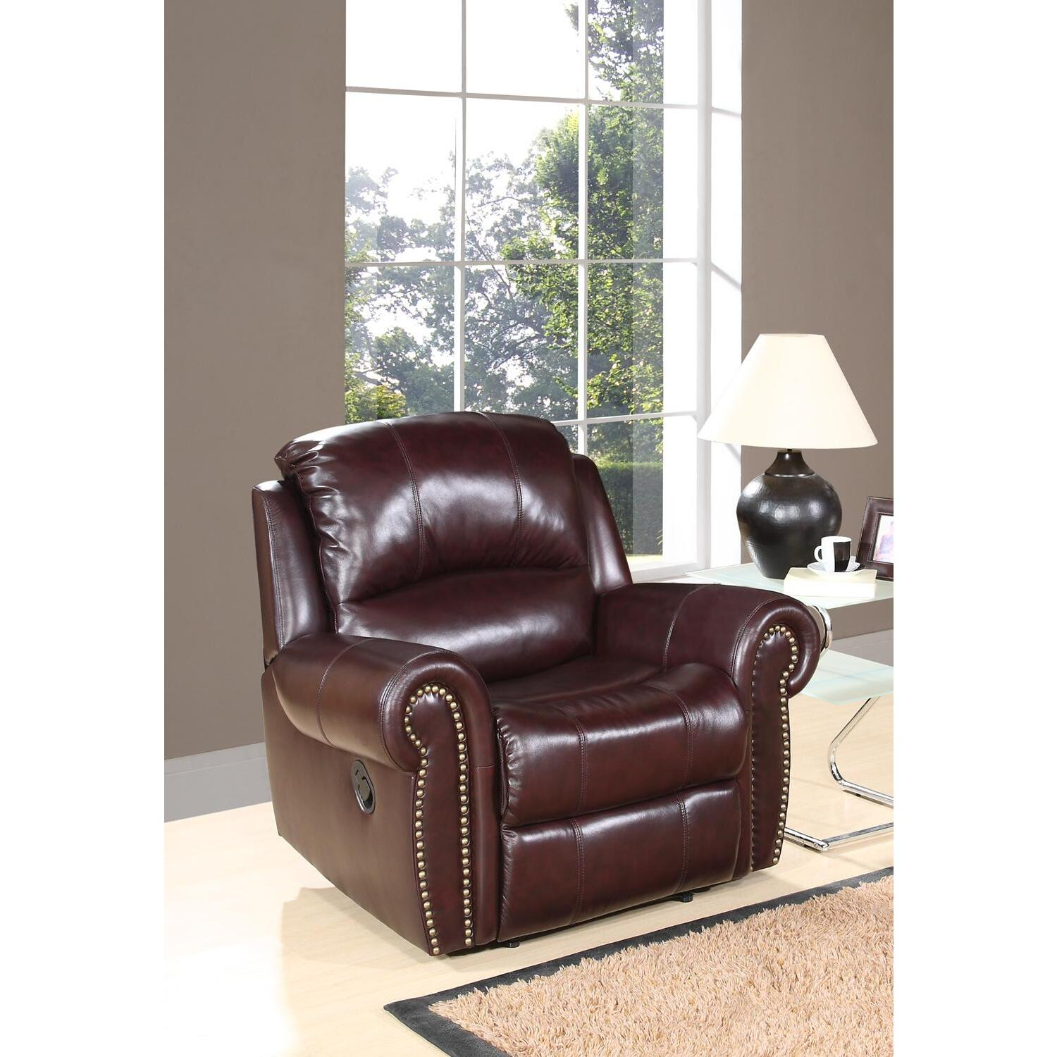 Abbyson Living Reclining Italian Leather Armchair By OJ