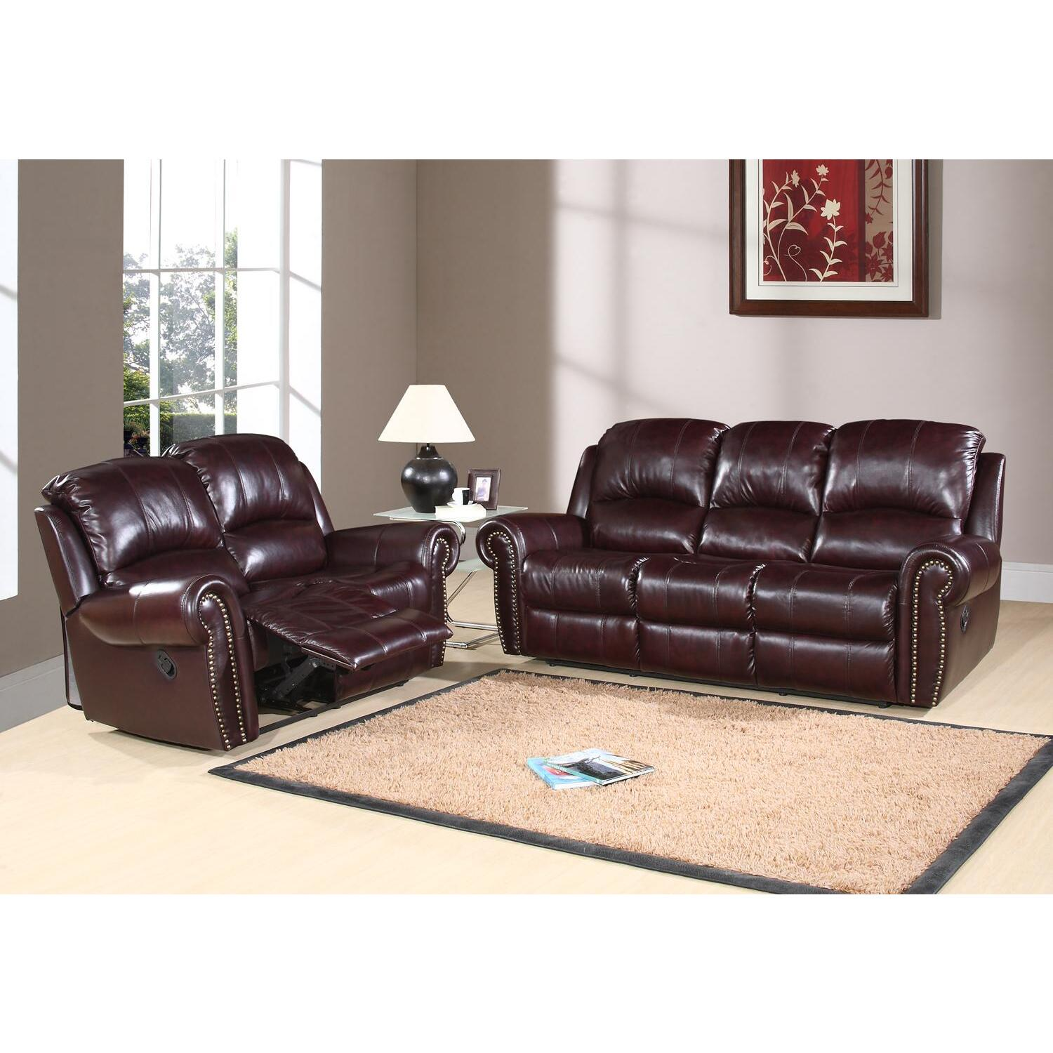 Abbyson Living Reclining Italian Leather Sofa And Loveseat By Oj Commerce Abbl23 2