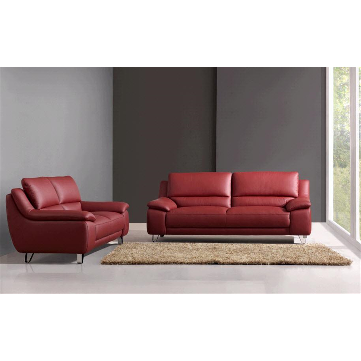Abbyson living red leather sofa and loveseat by oj commerce abbl48 2 Red sofas and loveseats