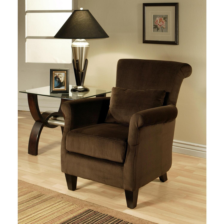 Abbyson living dark brown microfiber suede armchair by oj - Brown suede living room furniture ...