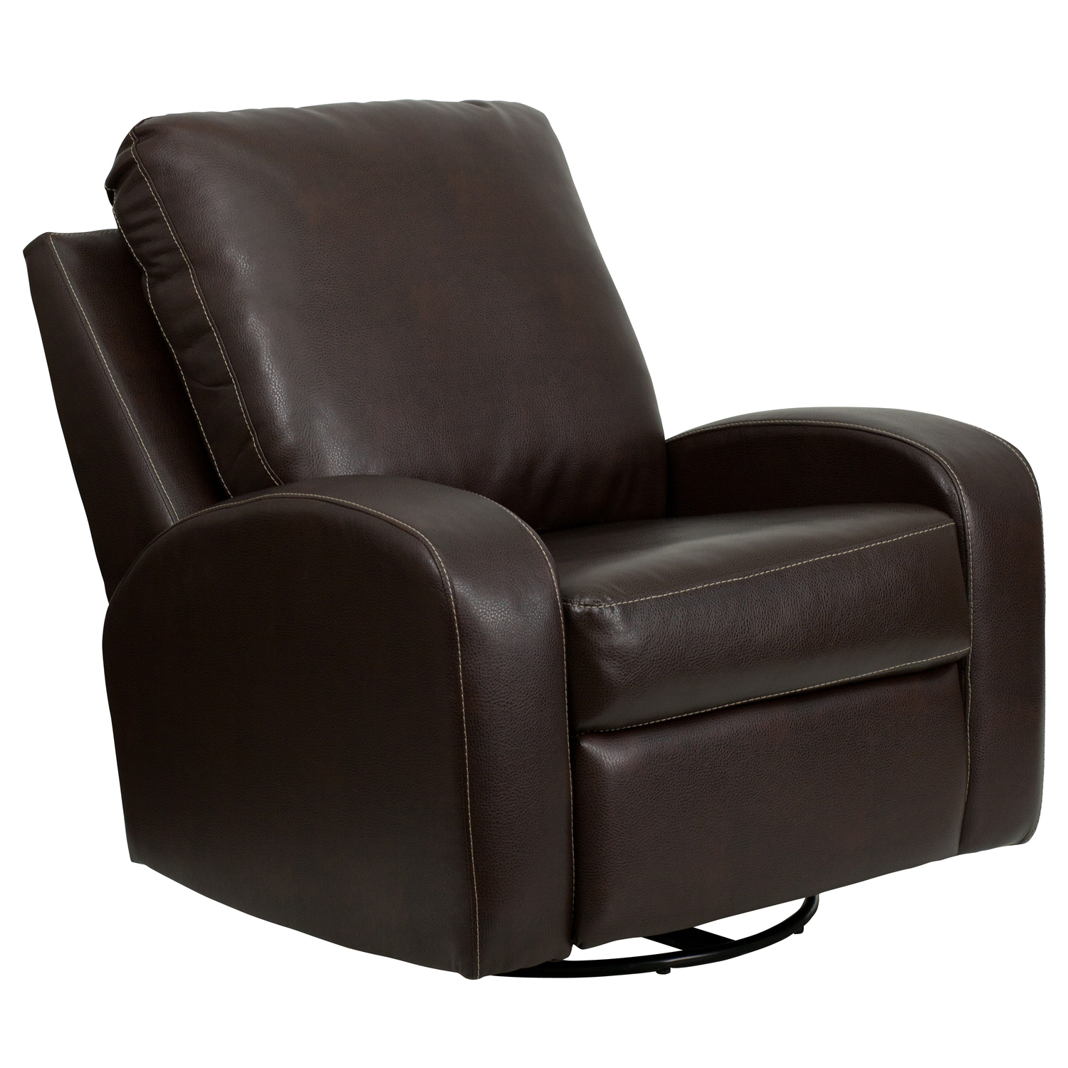 Flash Contemporary Thomas Leather Swivel Glider Recliner