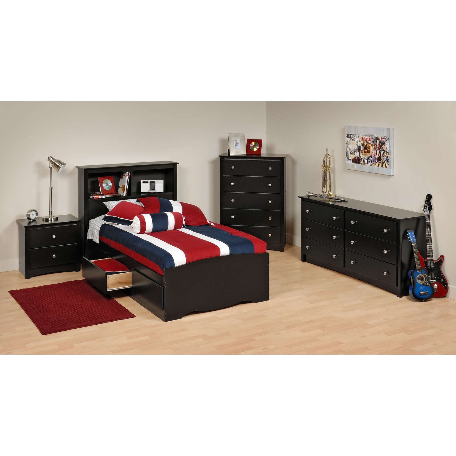 Prepac Black Sonoma Twin Bedroom Set by OJ merce $6 99