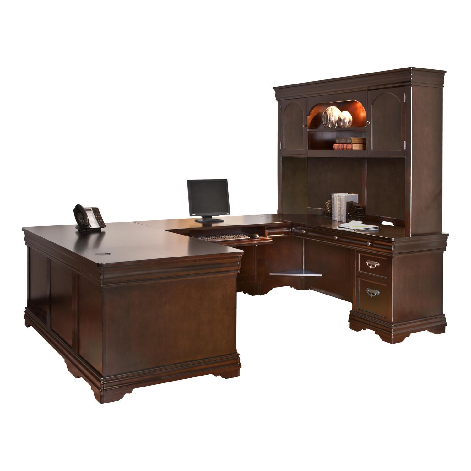 Martin Furniture Beaumont U Shaped Desk By OJ CommerceBT684R C SET $ . Full resolution‎  portrait, nominally Width 2100 Height 1615 pixels, portrait with #BA3F11.