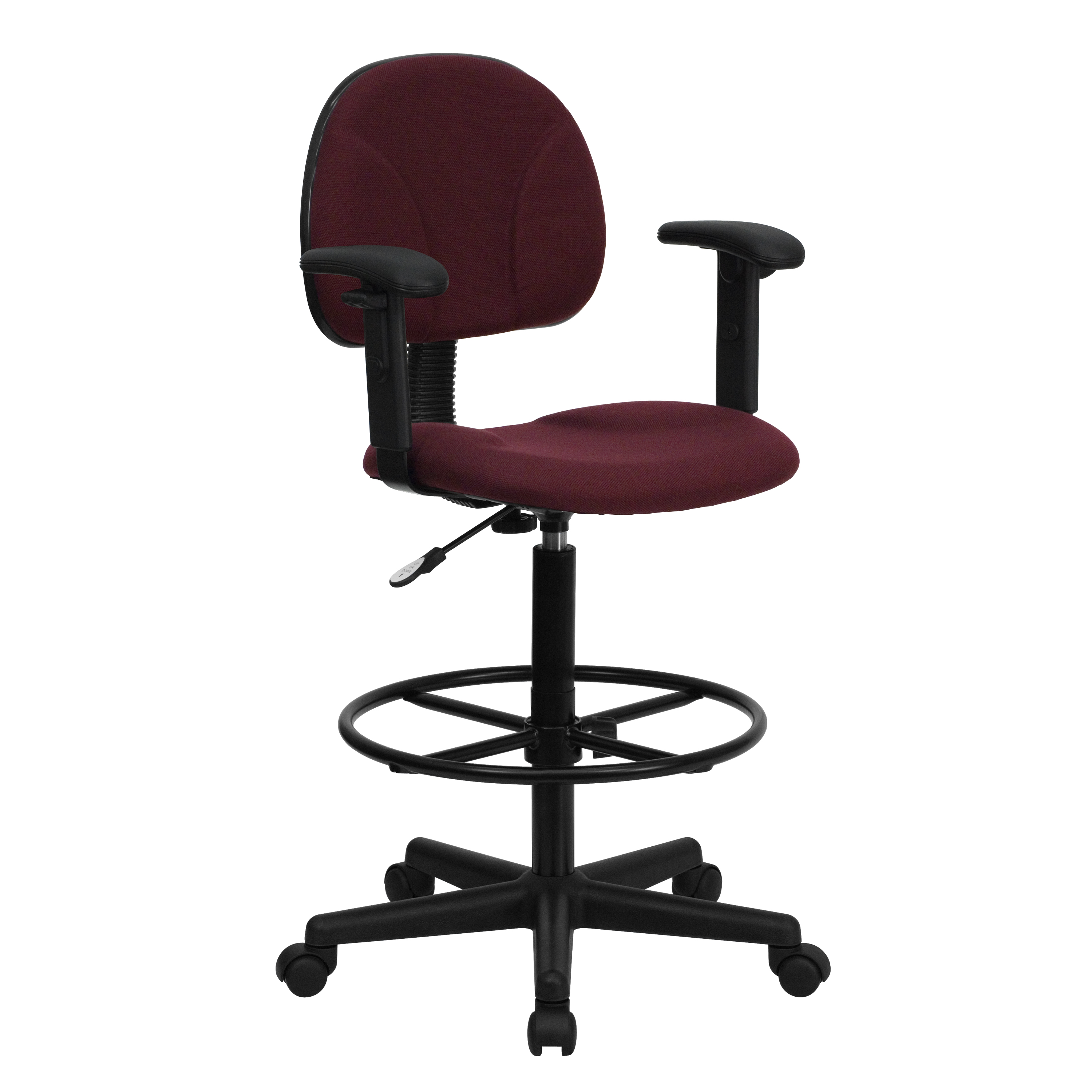 Flash Burgundy Fabric Multi Functional Ergonomic Drafting Stool With Arms By
