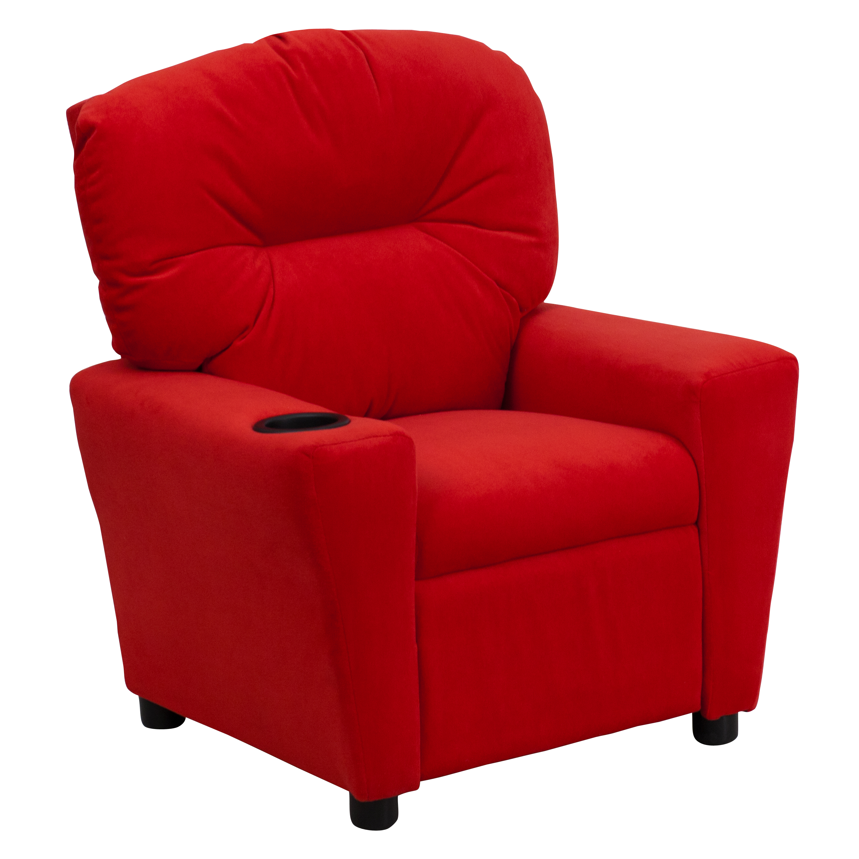 Flash Contemporary Microfiber Kids Recliner With Cup