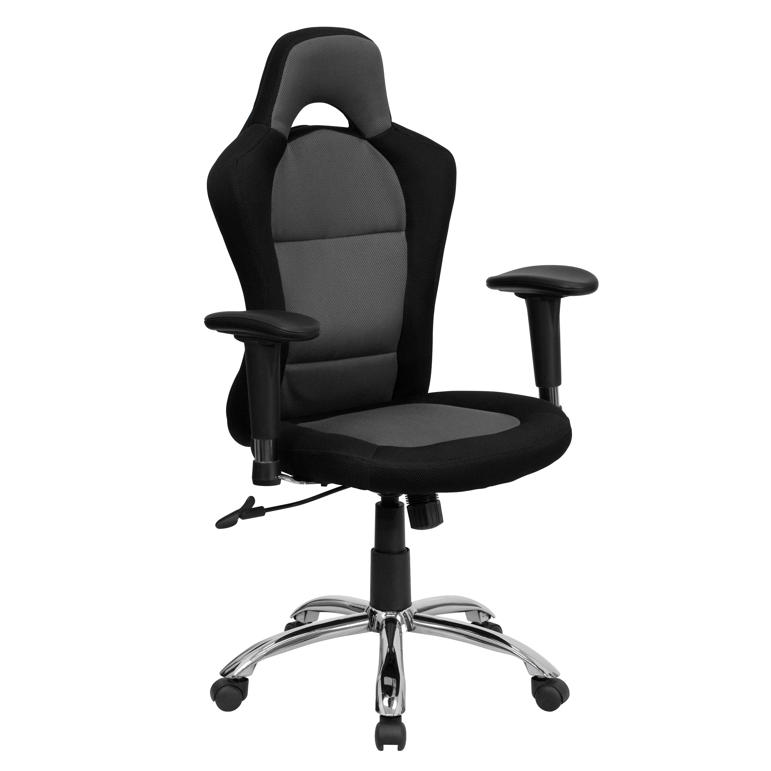 flash race car inspired bucket seat office chair in gray