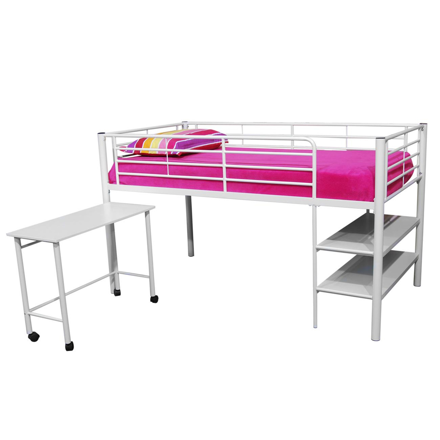 Twin Loft Bed with Desk and Storage 1300 x 1300