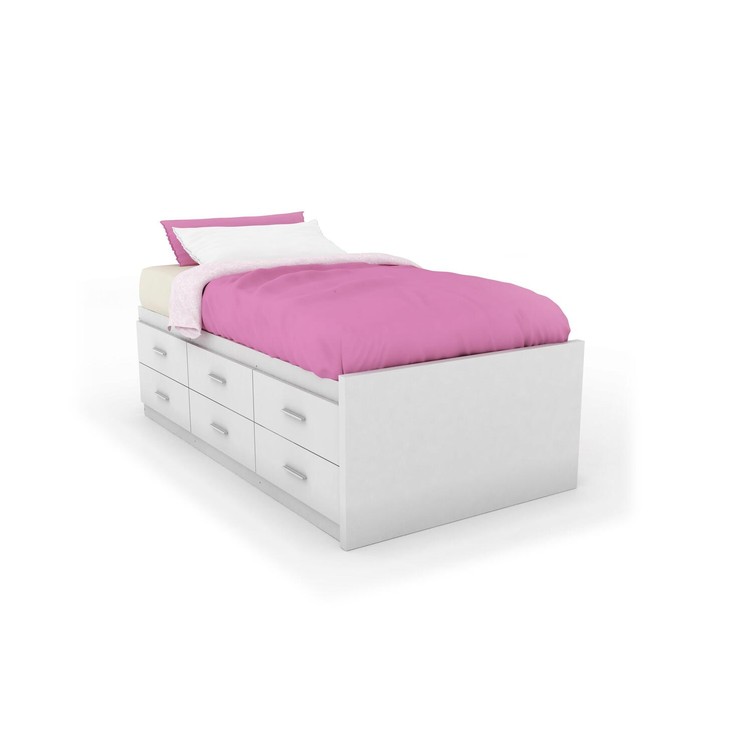 sonax sonax willow twin single captains storage bed with 6 drawers in frost white by oj. Black Bedroom Furniture Sets. Home Design Ideas