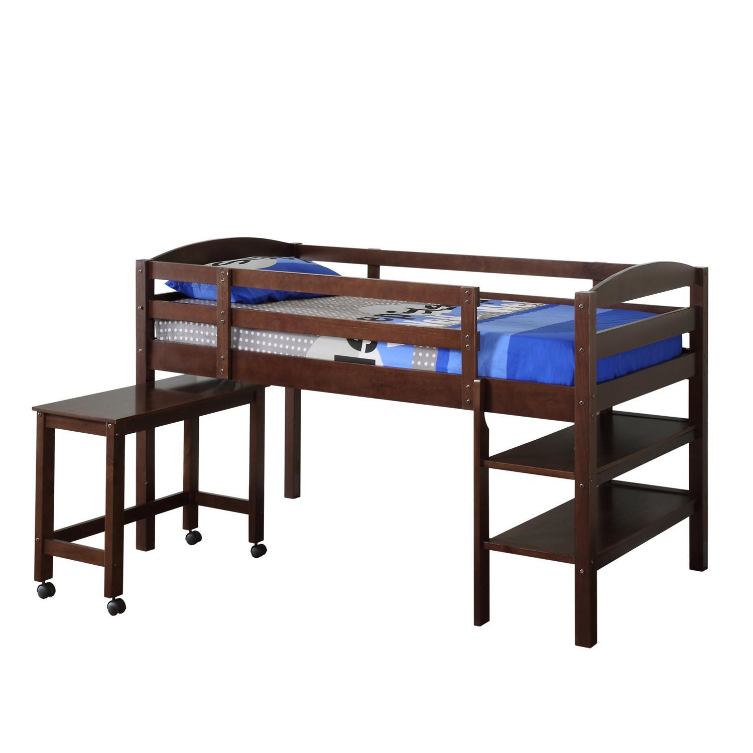 Walker Edison Twin Wood Loft Bed w/ Desk by OJ Commerce $449.00 - $620 ...