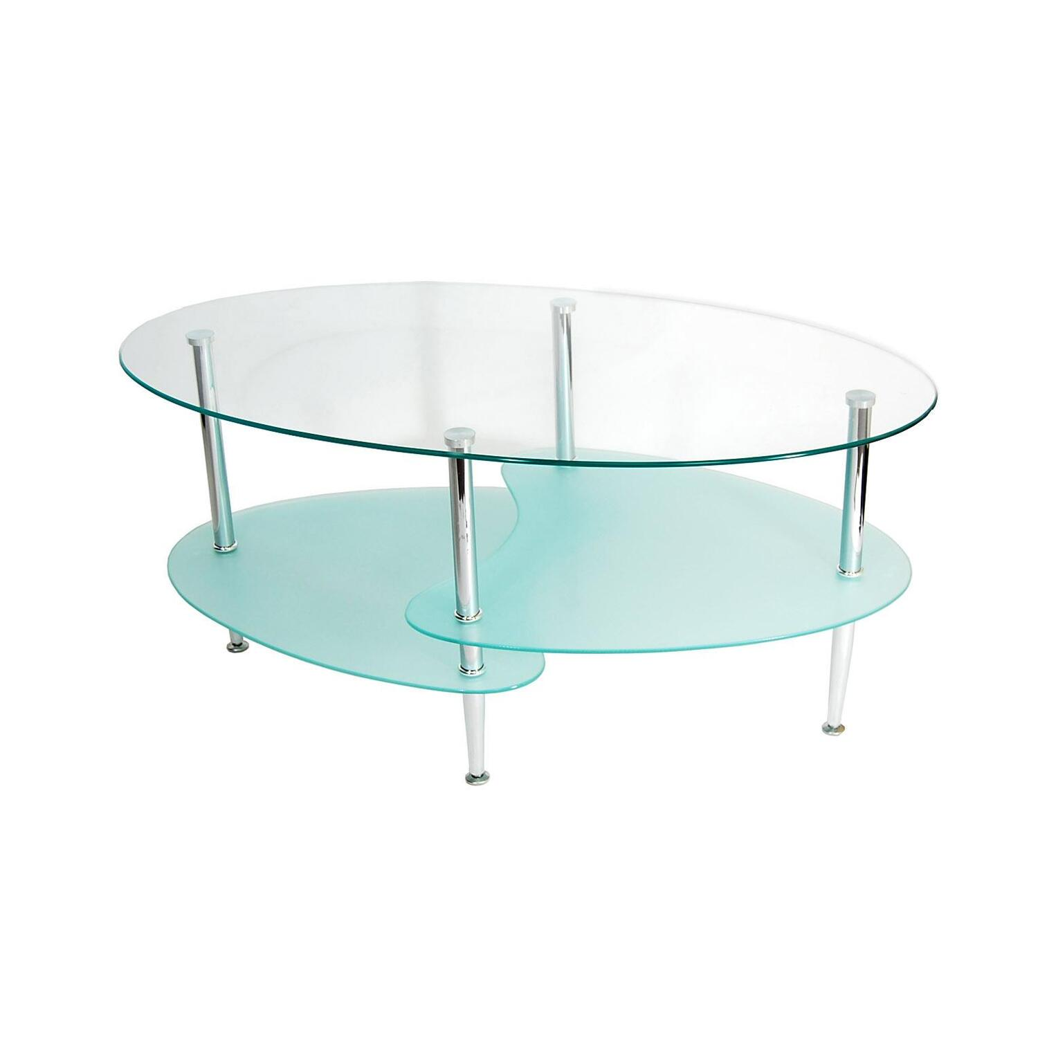 Walker Edison 38 In Wave Oval Coffee Table By OJ Commerce C38B4 99