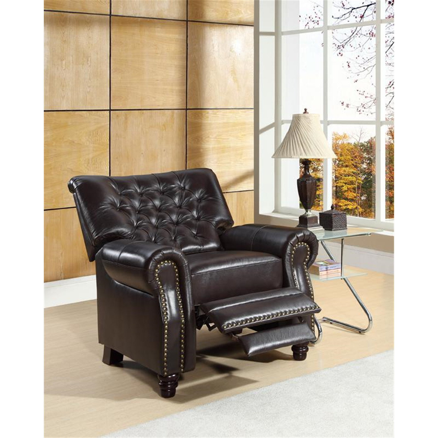 Abbyson living pushback leather recliner by oj commerce for Abbyson living sedona leather chaise recliner
