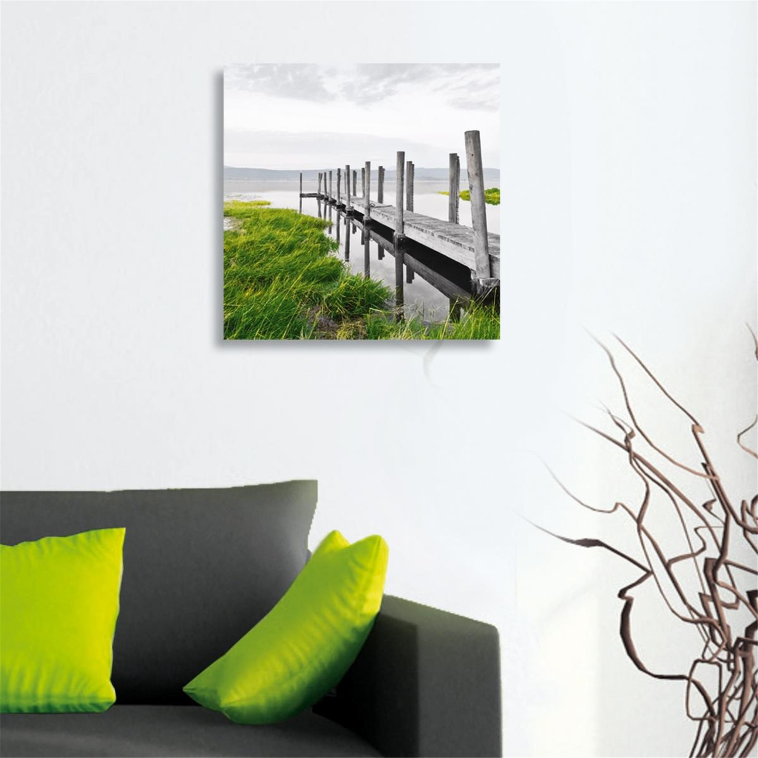 platin art deco glass wall decor art on glass idyllic jetty by oj