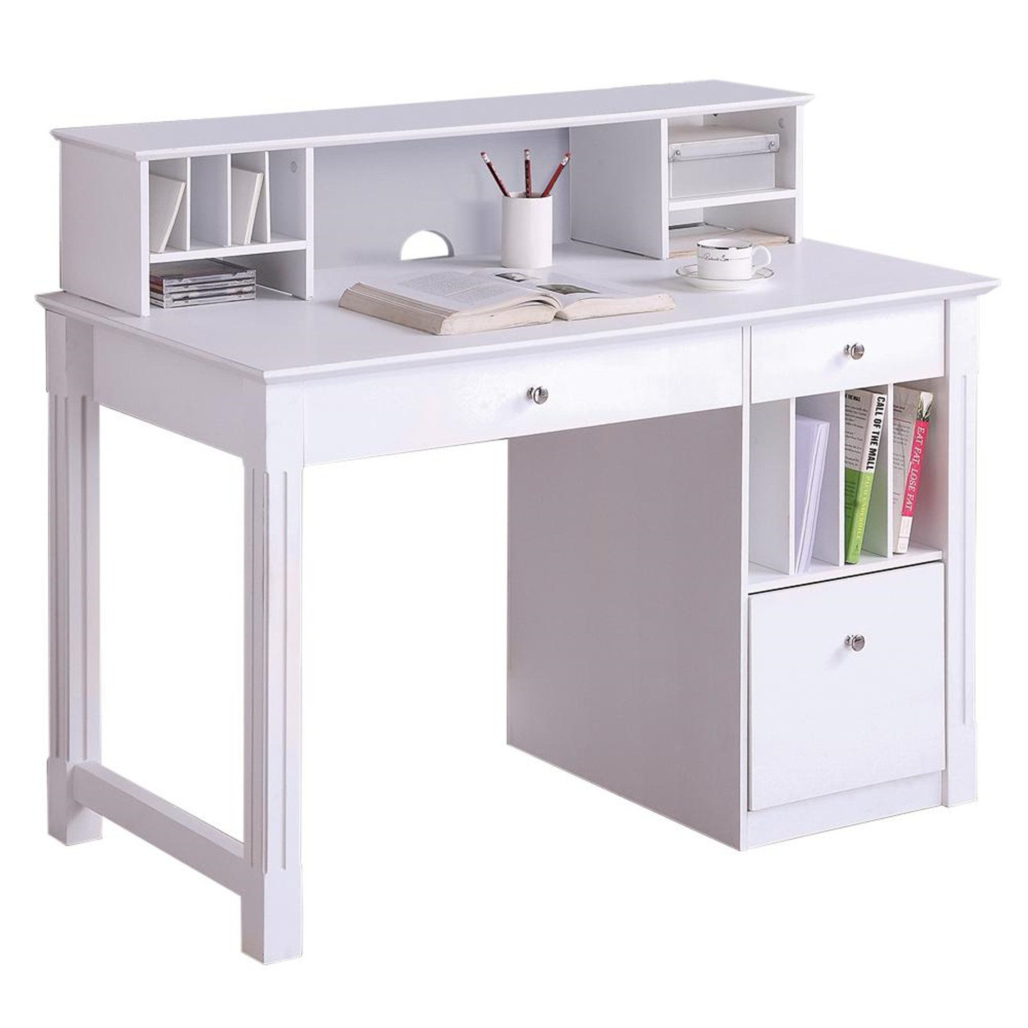 walker edison deluxe solid wood desk w hutch white by oj commerce