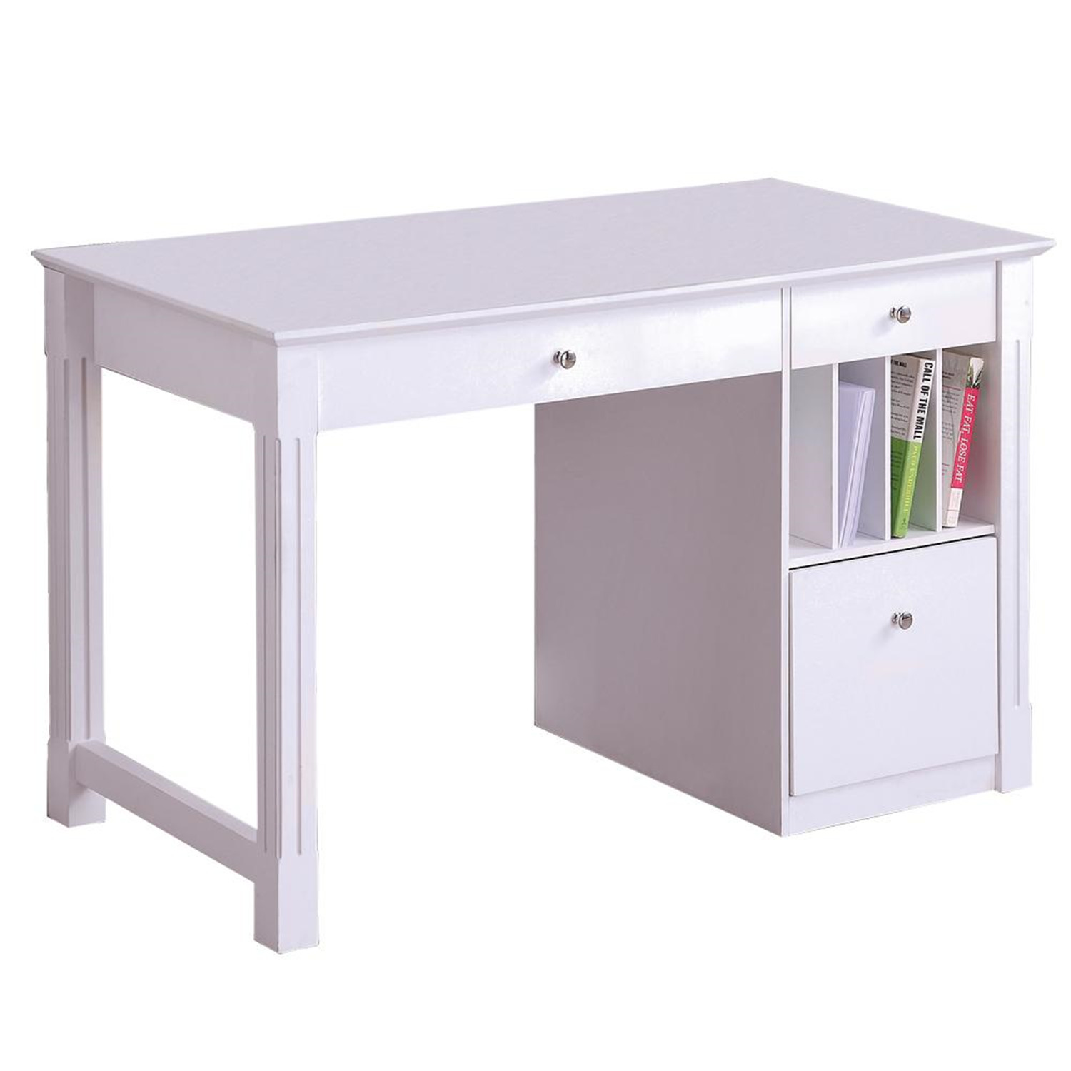 Walker Edison Deluxe Solid Wood Desk - White by OJ Commerce DW48D30WH