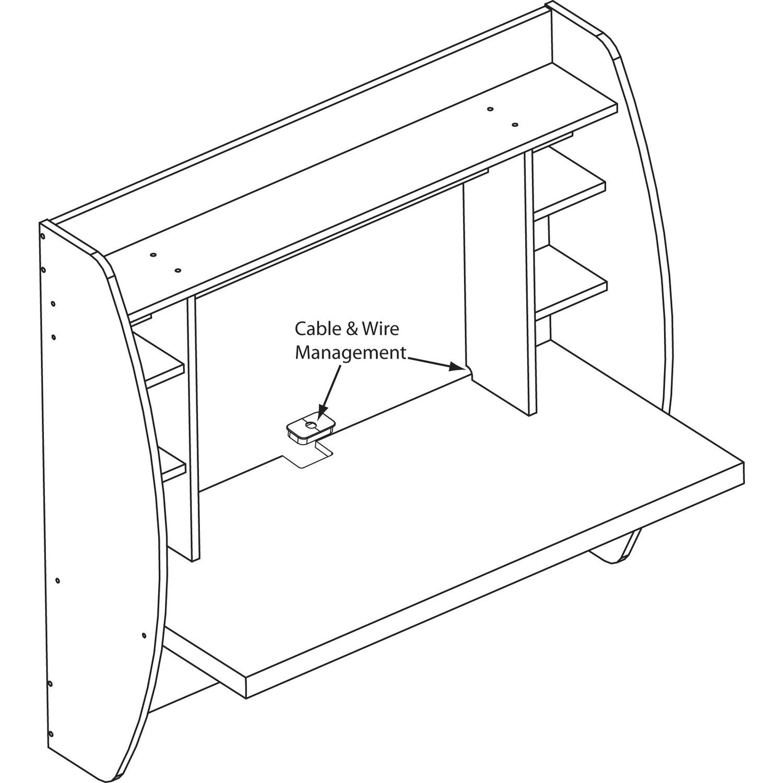 Wall Mounted Prepac Floating Storage Desk White Black