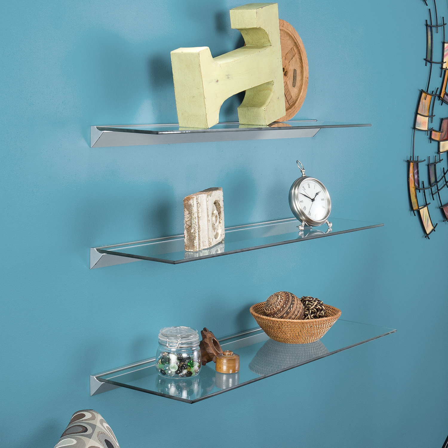 Southern Enterprises Clear Glass Floating Shelf By OJ