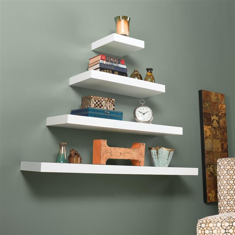 southern enterprises chicago floating shelf 24 white by. Black Bedroom Furniture Sets. Home Design Ideas
