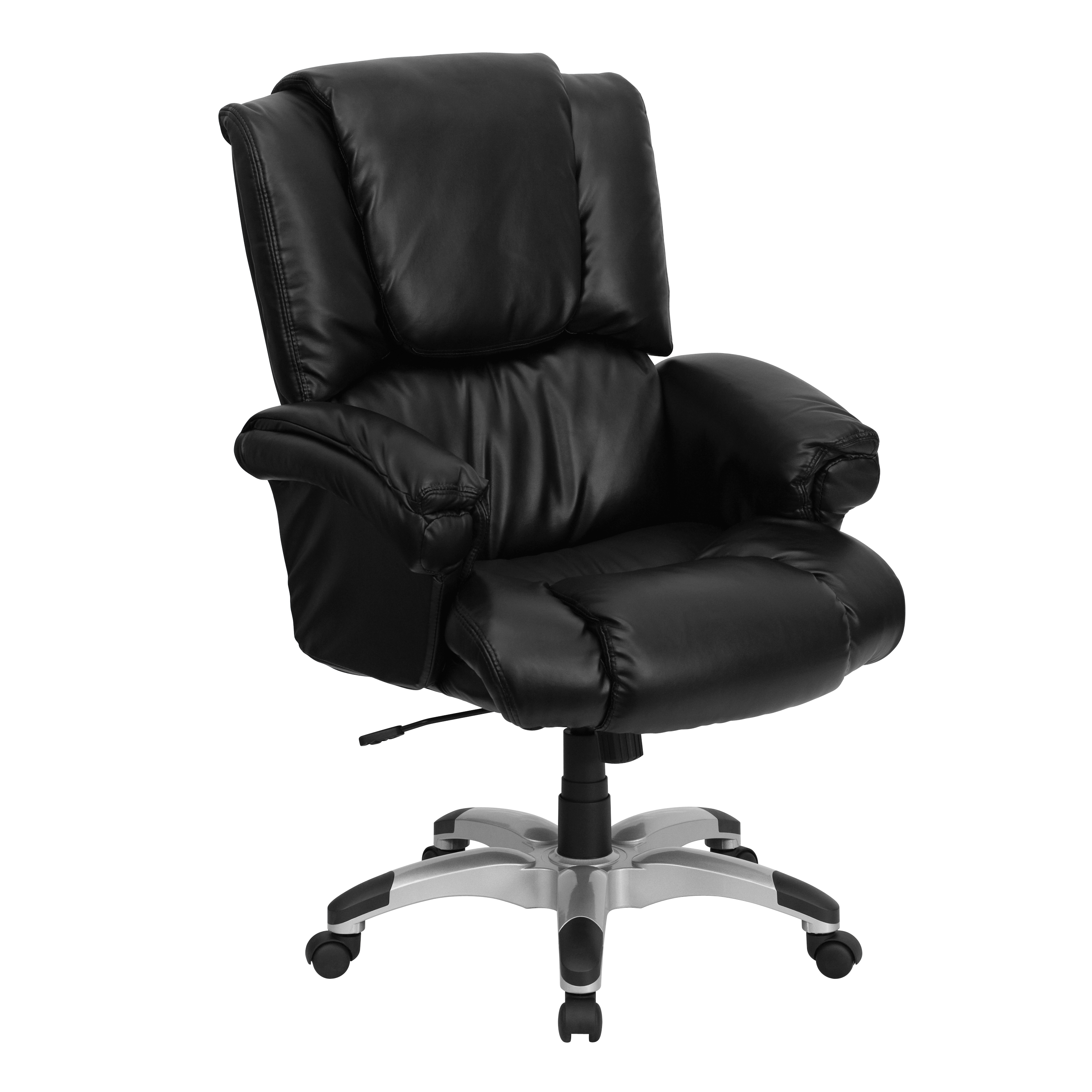 flash high back black leather overstuffed executive office