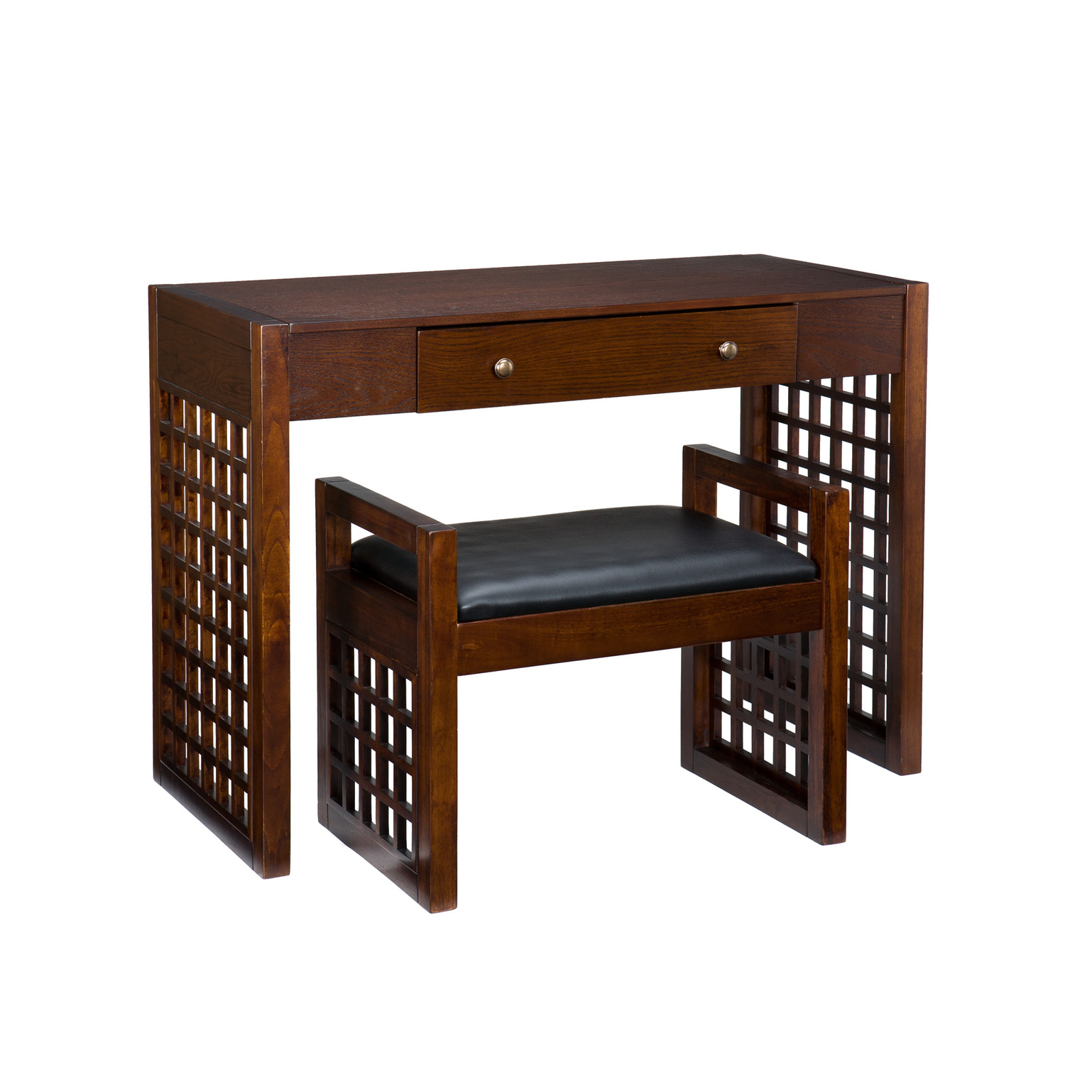Southern Enterprises Narita Espresso Desk And Bench Set By Oj Commerce Ho9269