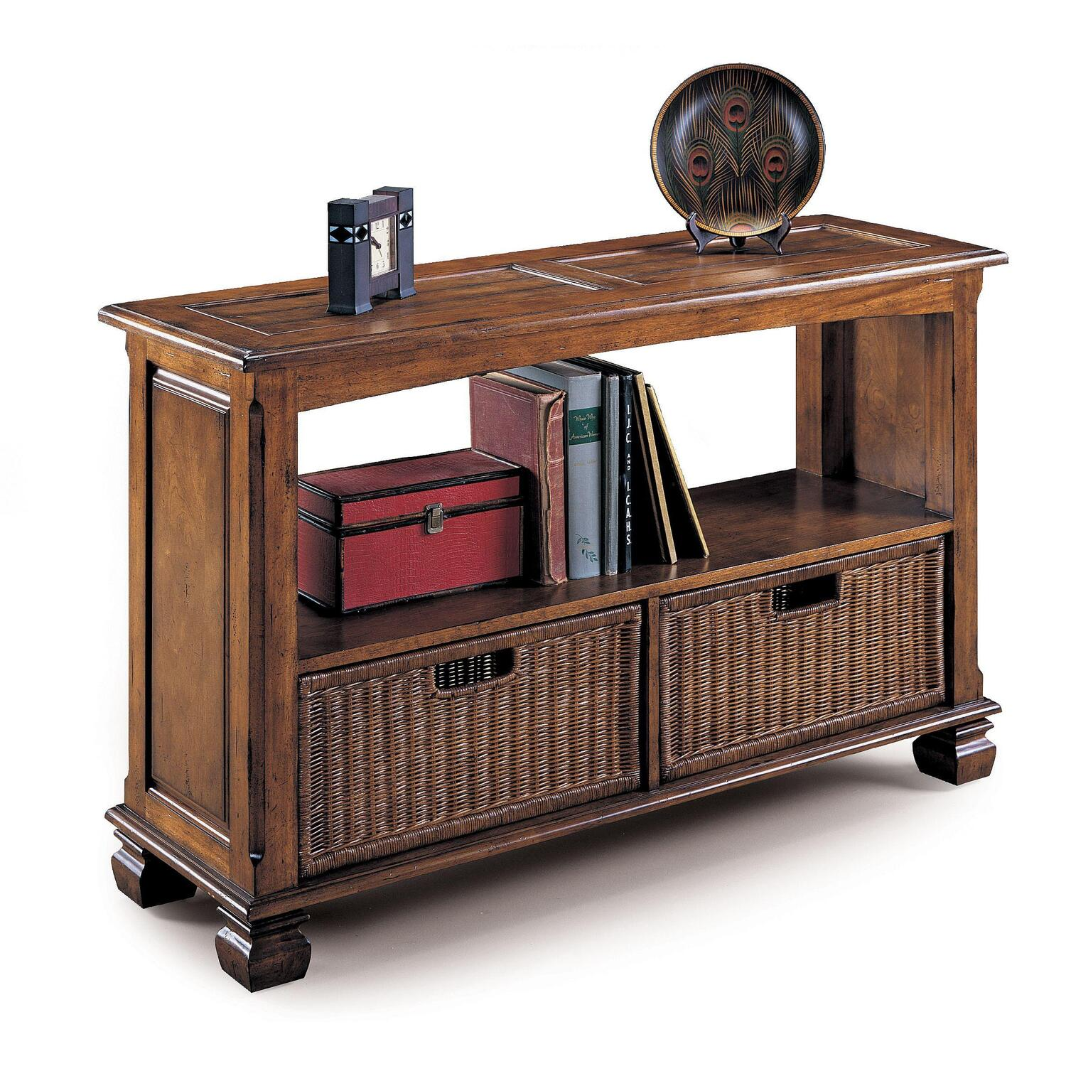 Lane surrey sofa table with storage baskets by oj commerce for Sofa table storage