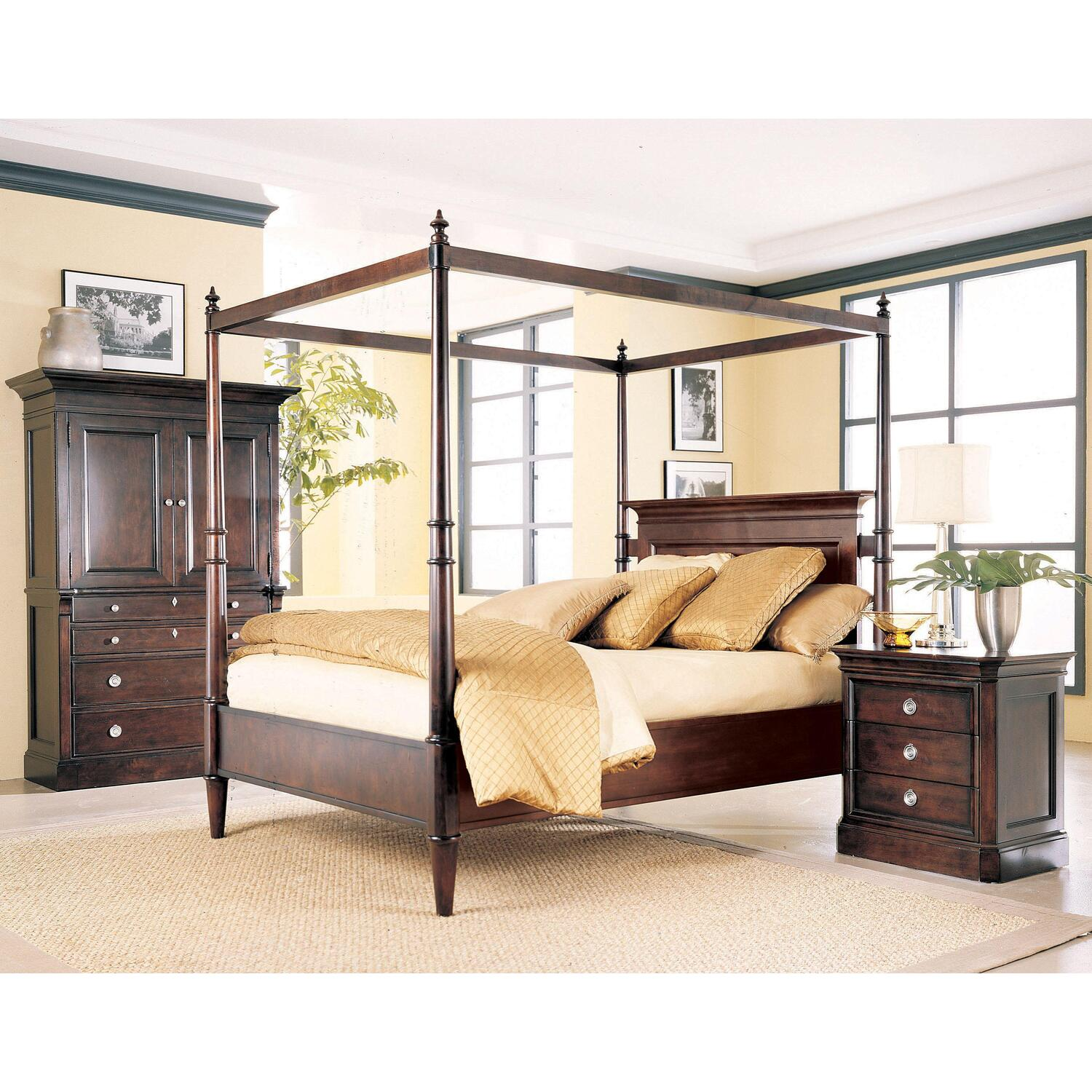 Lane queen poster bed set with dresser mirror nightstand for Lane bedroom furniture