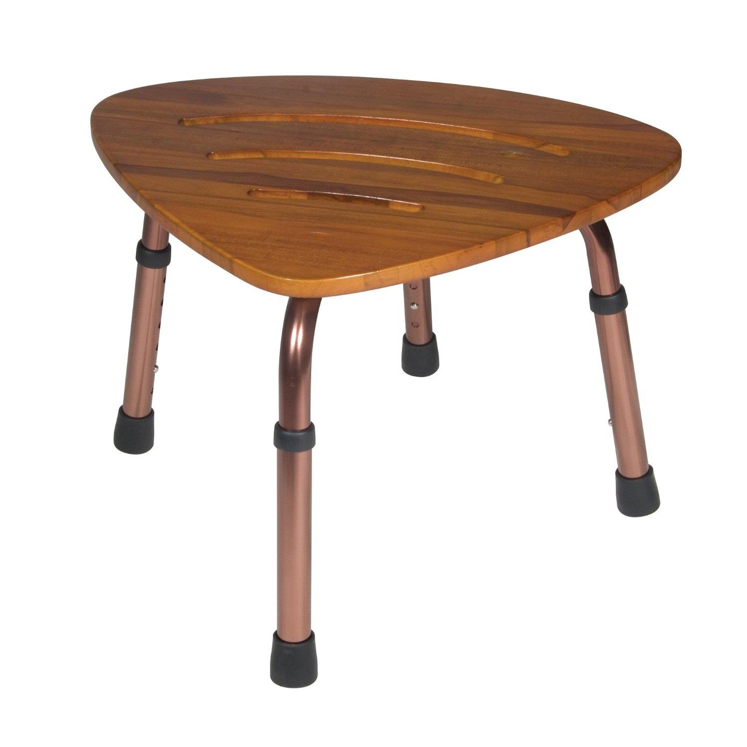 Drive medical adjustable height teak bath bench stool by oj commerce rtl12350kdr Bath bench