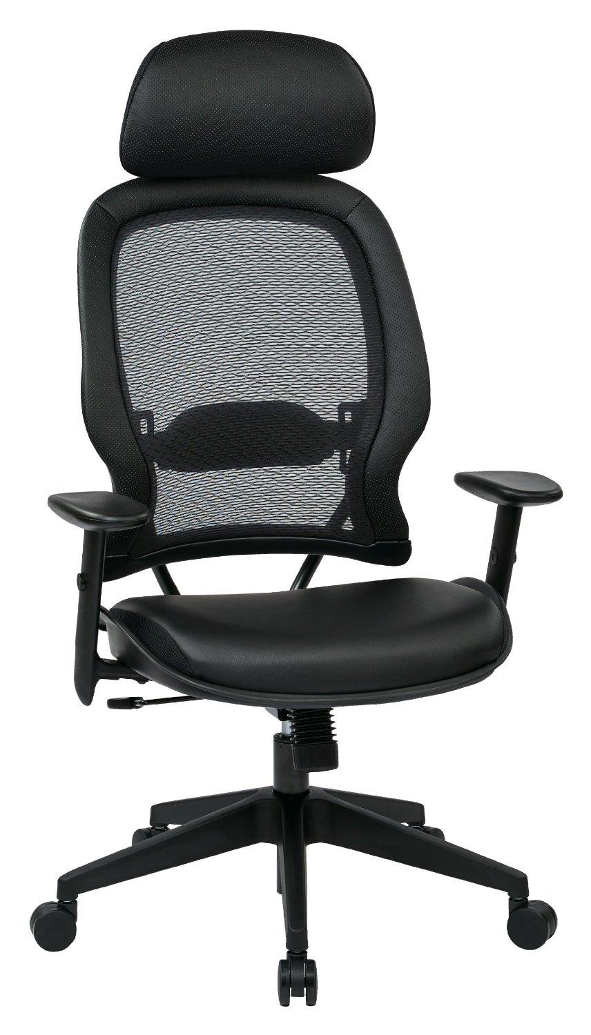 office star leather air grid chair with adjustable lumbar support by oj commerce. Black Bedroom Furniture Sets. Home Design Ideas