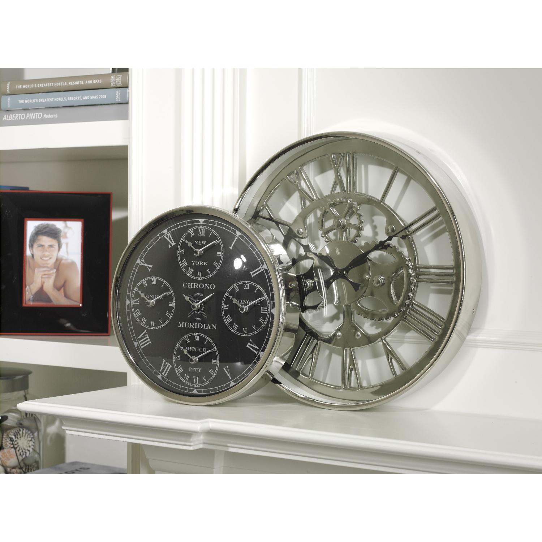 zodax chrono meridian five time zone world wall clock by