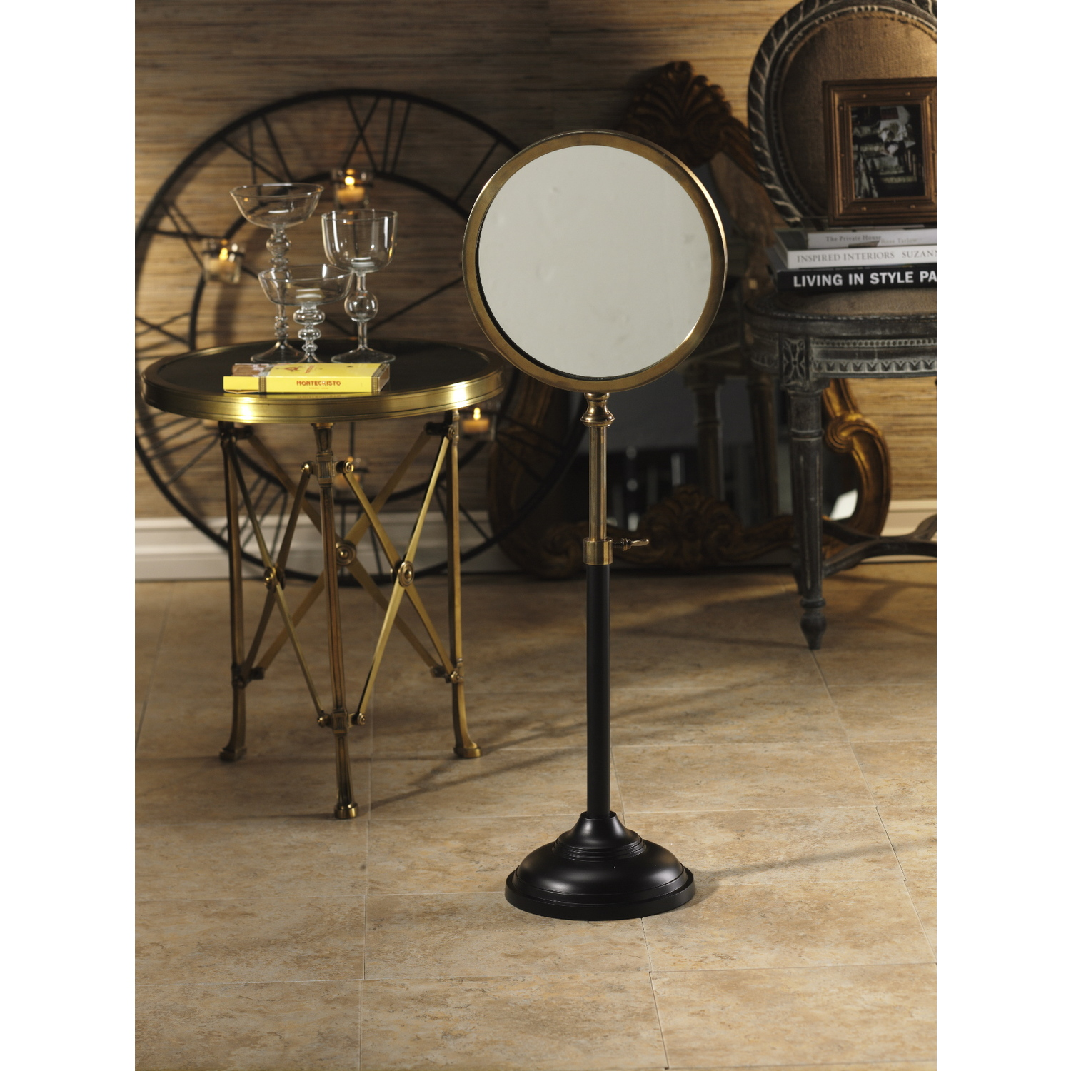 zodax telescoping table mirror on stand by oj commerce in 4920. Black Bedroom Furniture Sets. Home Design Ideas
