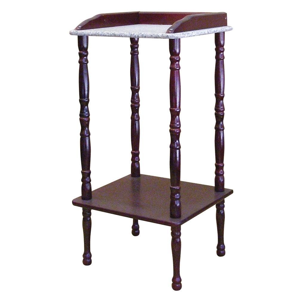 Ore international cherry accent table with marble top by for Cherry side table