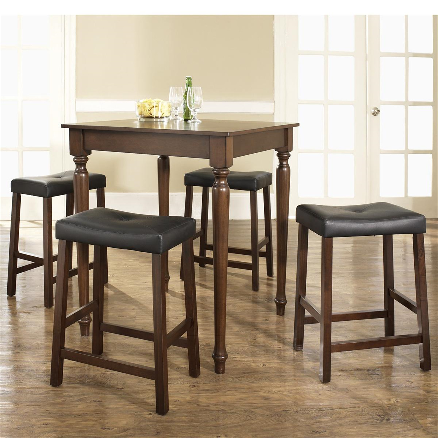Pub Dinette Sets 5 Piece: Crosley 5 Piece Pub Dining Set With Turned Leg And