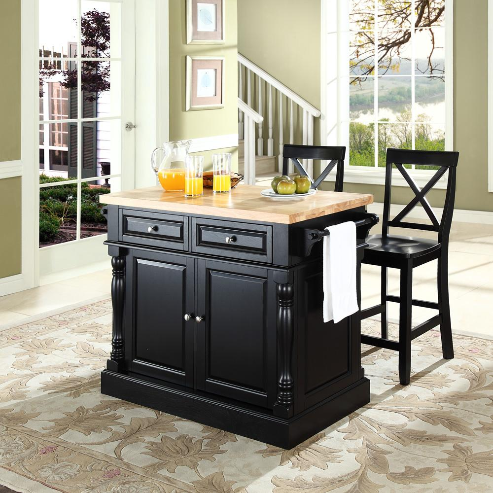 crosley butcher block top kitchen island with 24 x back stools by oj commerce kf300063bk. Black Bedroom Furniture Sets. Home Design Ideas