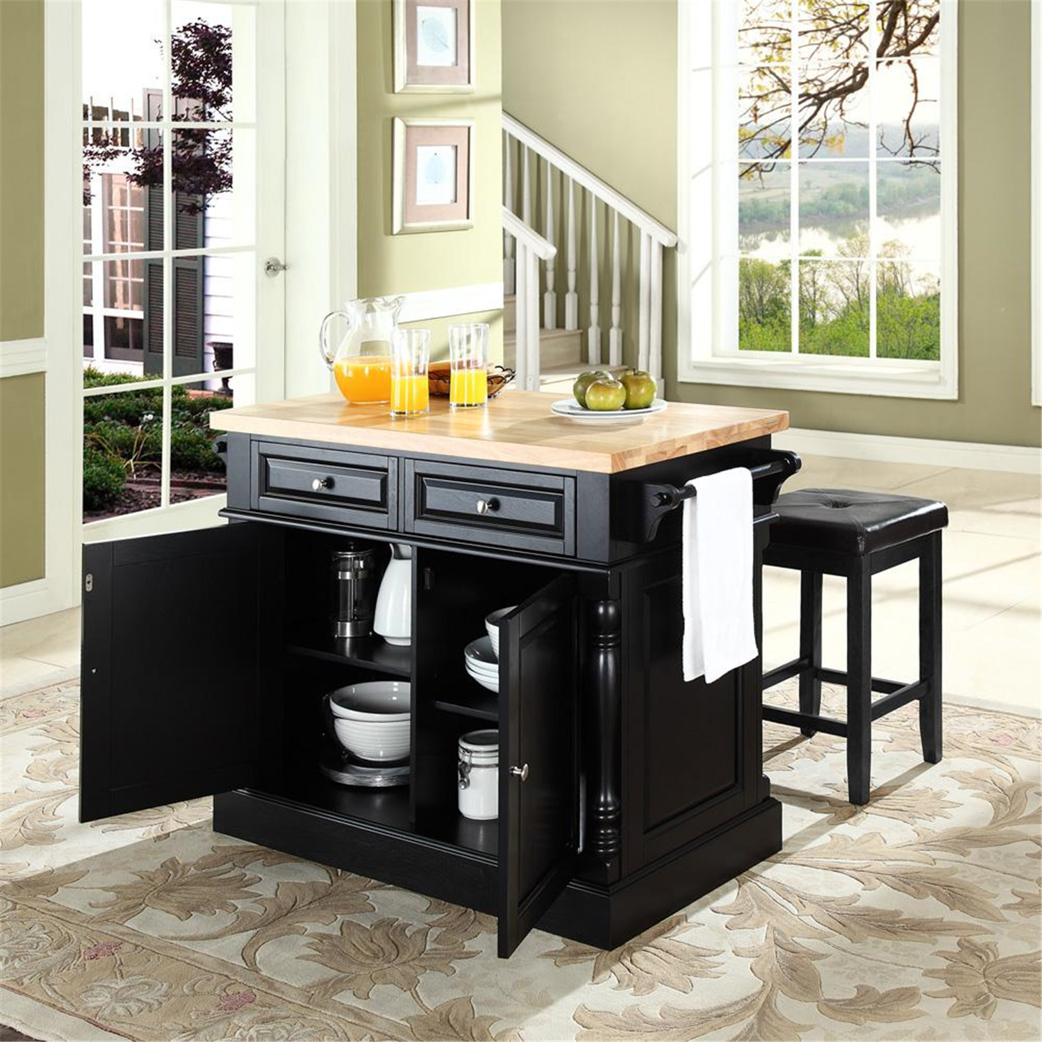 24 Kitchen Island: Crosley Butcher Block Top Kitchen Island With 24
