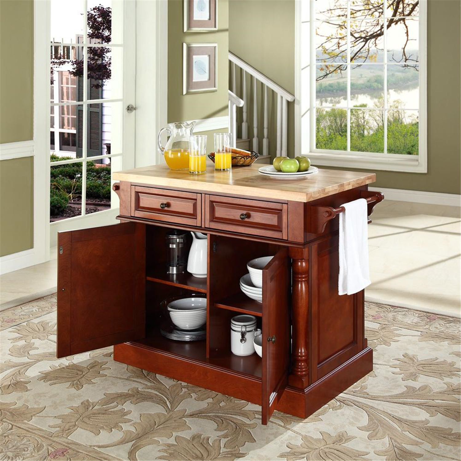 crosley butcher block kitchen island by oj commerce. Black Bedroom Furniture Sets. Home Design Ideas