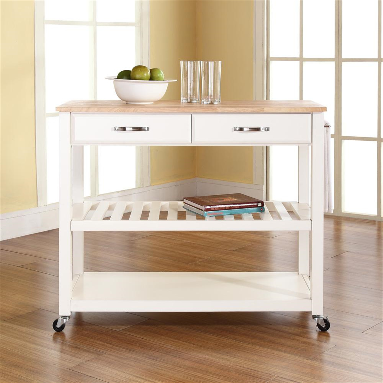 crosley kitchen cart island with optional stool storage by oj commerce