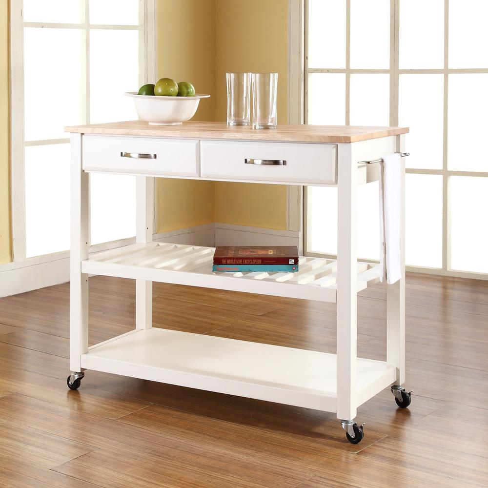 Crosley Kitchen Cart Island With Optional Stool Storage By
