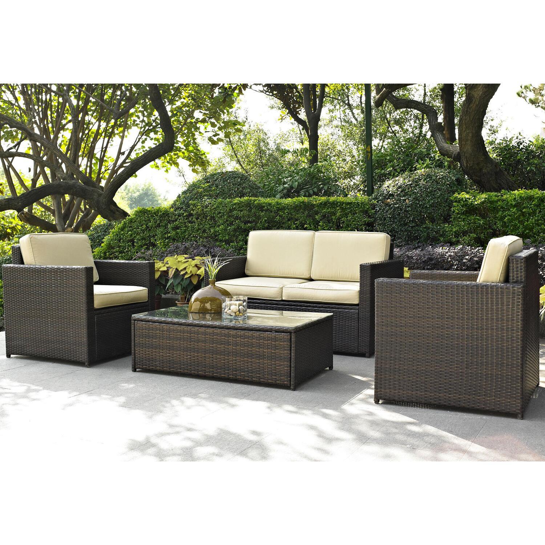 Crosley Palm Harbor 4 Piece Outdoor Wicker Seating Set