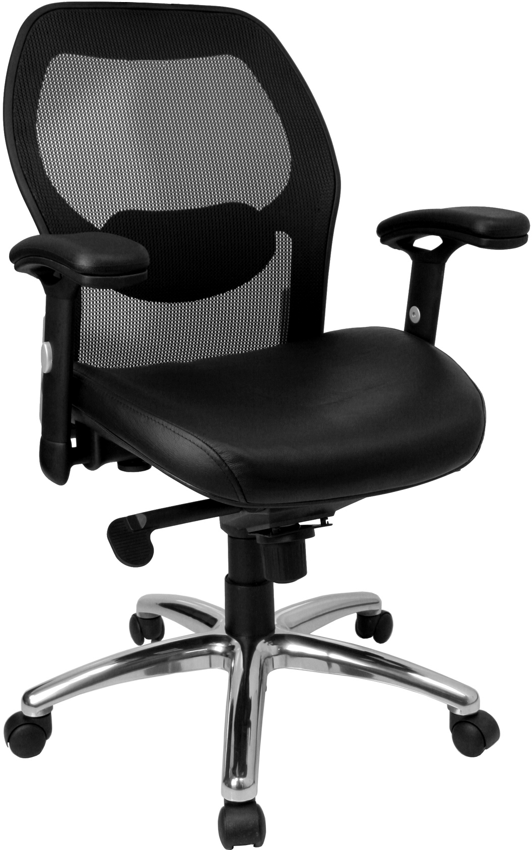 Flash High Back Super Mesh Office Chair With Black Italian Leather Seat And K