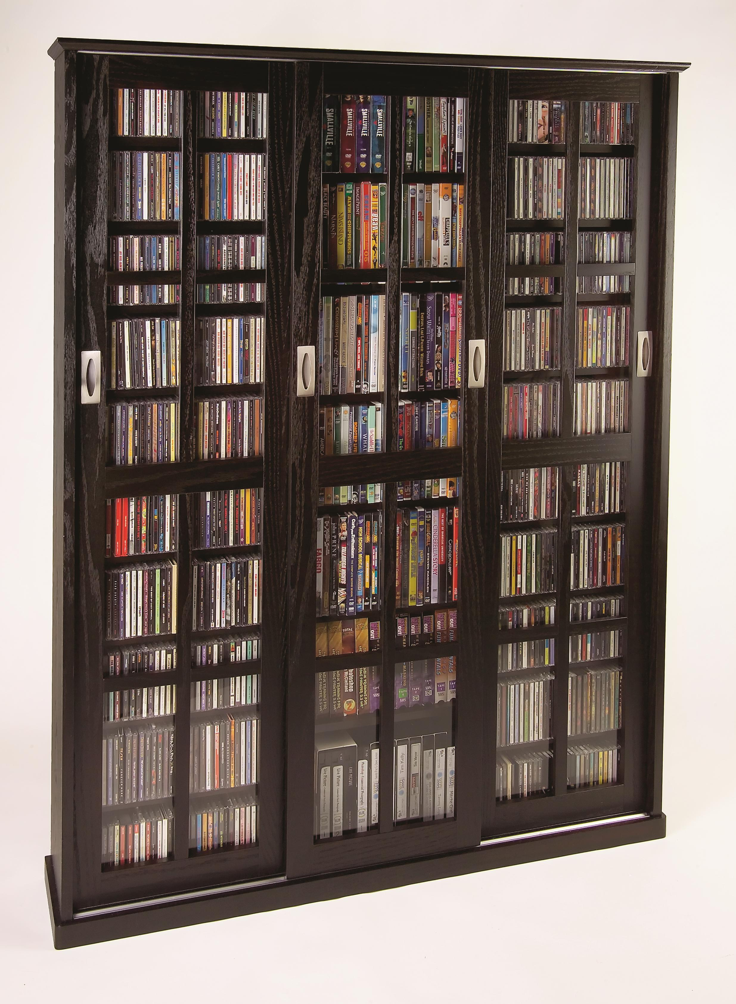 Leslie Dame Sliding Door Inlaid Glass Mission Style Multimedia Cabinet