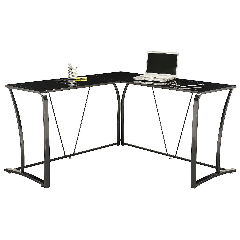 Bush furniture metal glass l desk by oj commerce my72715 03 - Metal and glass desks ...