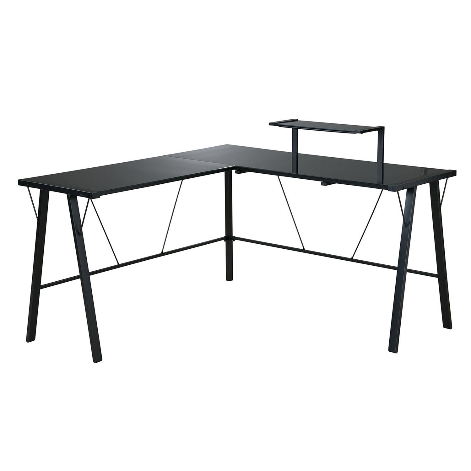 Shaped Glass Desk Orion l-shaped desk with hutch