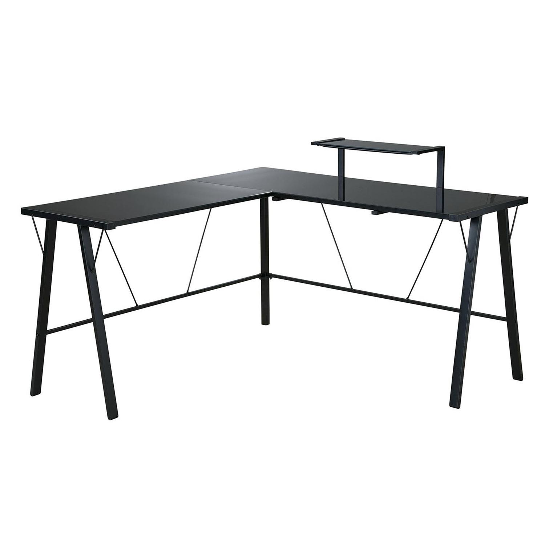 office star orion l shaped desk with hutch black glass by oj commerce orn25rlbk. Black Bedroom Furniture Sets. Home Design Ideas
