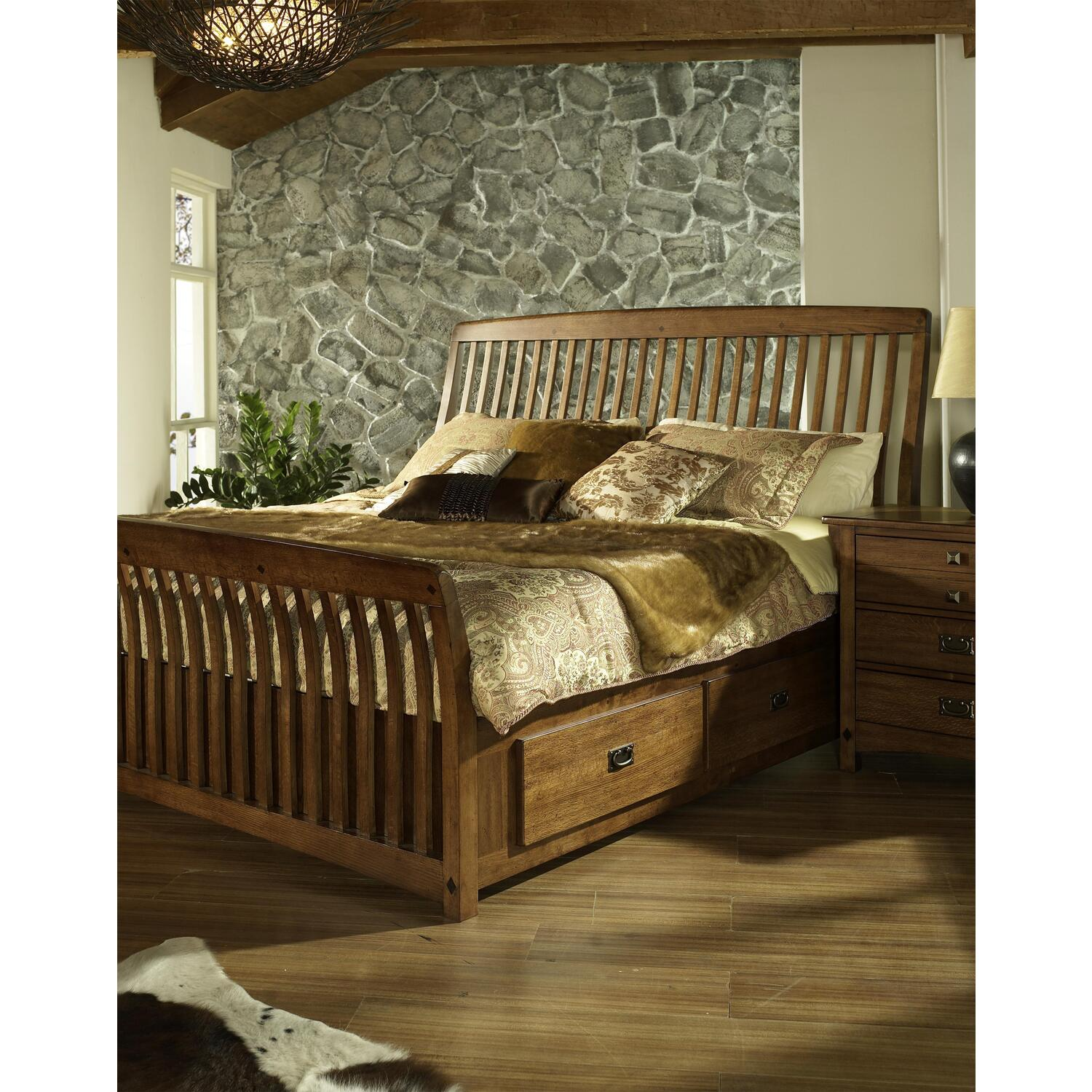 Somerton Craftsman King Sleigh Bed With Drawers By Oj