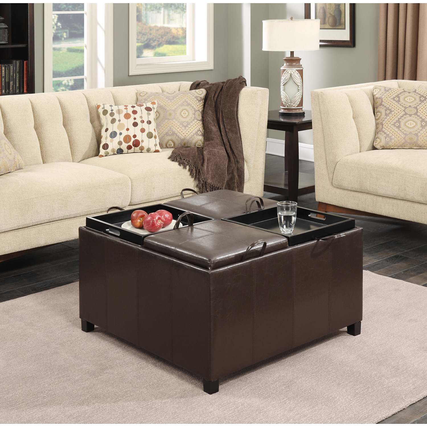 Convenience concepts times square ottoman with 4 tray tops for What is an ottoman for